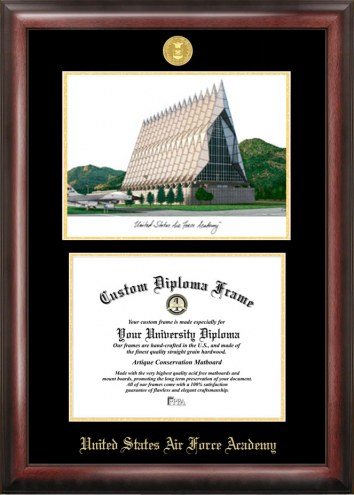 Air Force Falcons Gold Embossed Diploma Frame with Lithograph