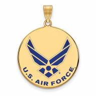 Air Force Falcons Sterling Silver Gold Plated Extra Large Pendant