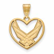 Air Force Falcons Sterling Silver Gold Plated Heart Pendant