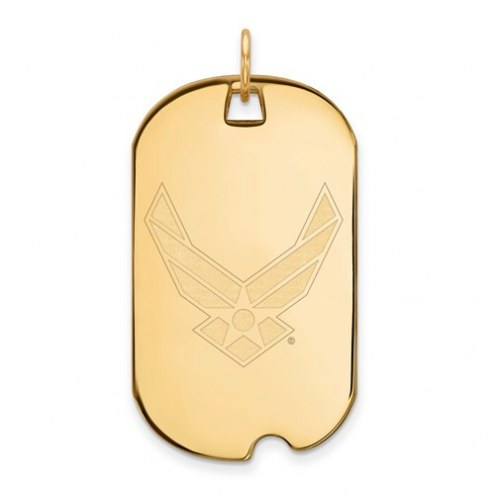 Air Force Falcons Sterling Silver Gold Plated Large Dog Tag