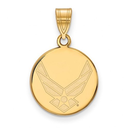 Air Force Falcons Sterling Silver Gold Plated Medium Disc Pendant