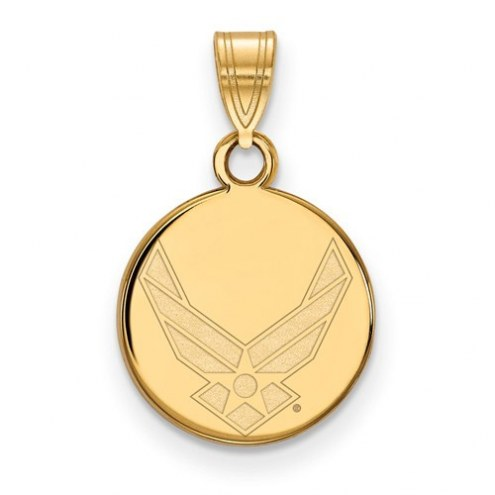 Air Force Falcons Sterling Silver Gold Plated Small Disc Pendant