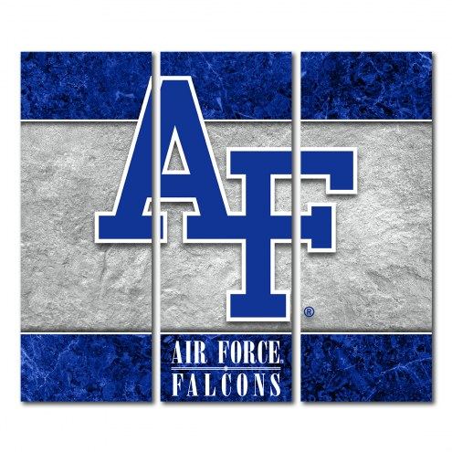 Air Force Falcons Triptych Double Border Canvas Wall Art
