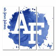 Air Force Falcons Triptych Watercolor Canvas Wall Art