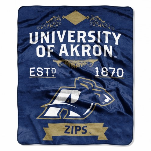 Akron Zips Label Raschel Throw Blanket