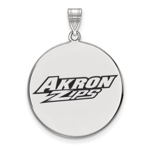 Akron Zips Sterling Silver Extra Large Enameled Disc Pendant