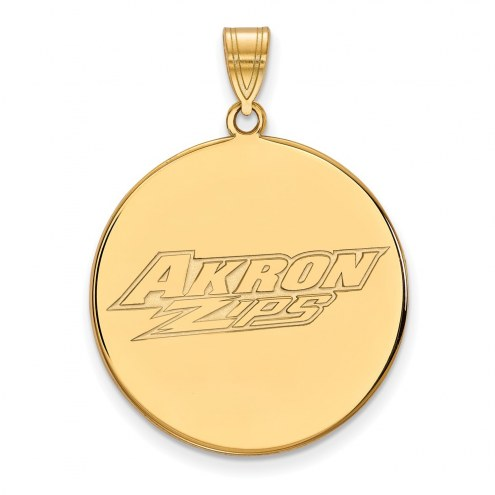 Akron Zips Sterling Silver Gold Plated Extra Large Disc Pendant