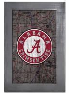 """Alabama Crimson Tide 11"""" x 19"""" City Map Framed Sign"""