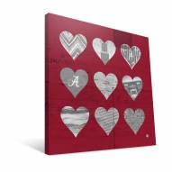 "Alabama Crimson Tide 12"" x 12"" Hearts Canvas Print"