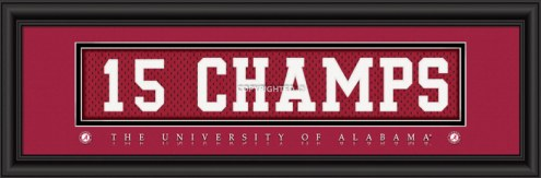 "Alabama Crimson Tide ""15 Champs"" Stitched Jersey Framed Print"