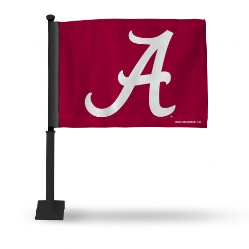 Alabama Crimson Tide Car Flag with Black Pole