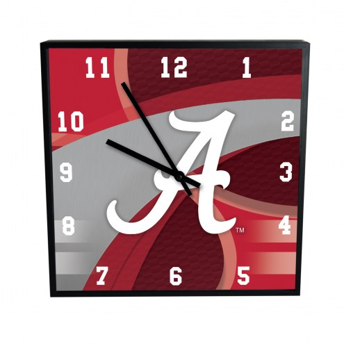 Alabama Crimson Tide Carbon Fiber Square Clock