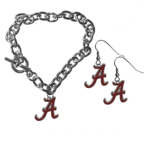 Alabama Crimson Tide Chain Bracelet & Dangle Earring Set