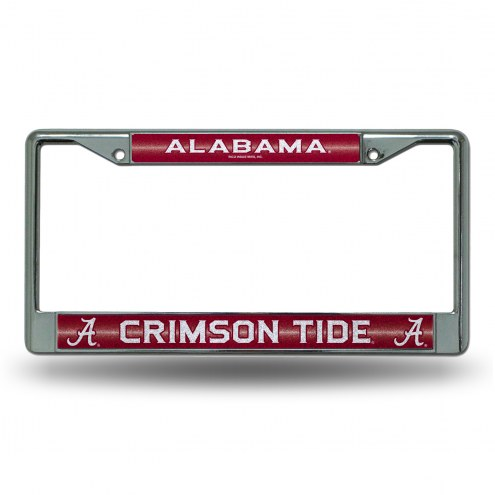 Alabama Crimson Tide Chrome Glitter License Plate Frame