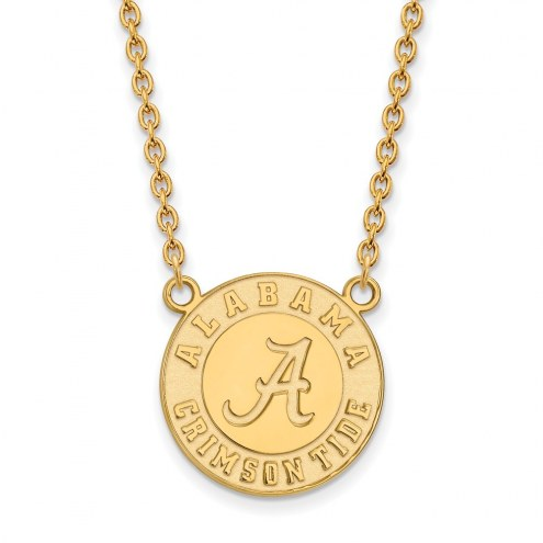 Alabama Crimson Tide College Sterling Silver Gold Plated Large Pendant Necklace