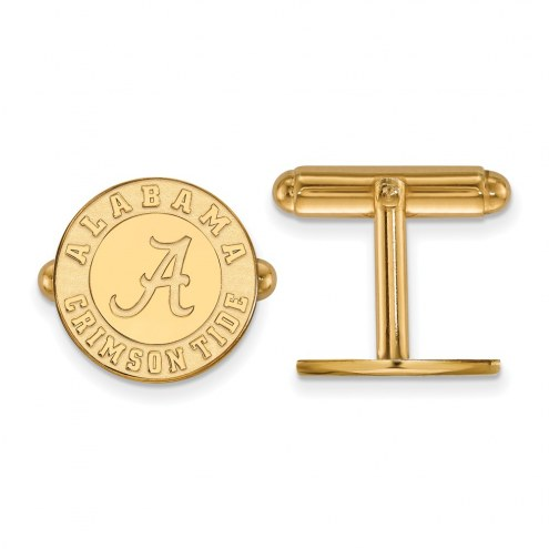 Alabama Crimson Tide College Sterling Silver Gold Plated Cuff Links