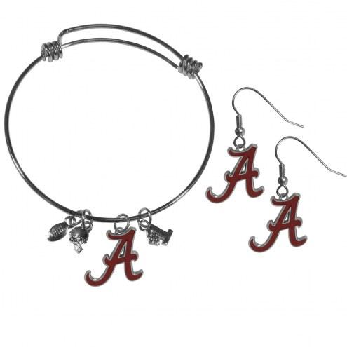 Alabama Crimson Tide Dangle Earrings & Charm Bangle Bracelet Set