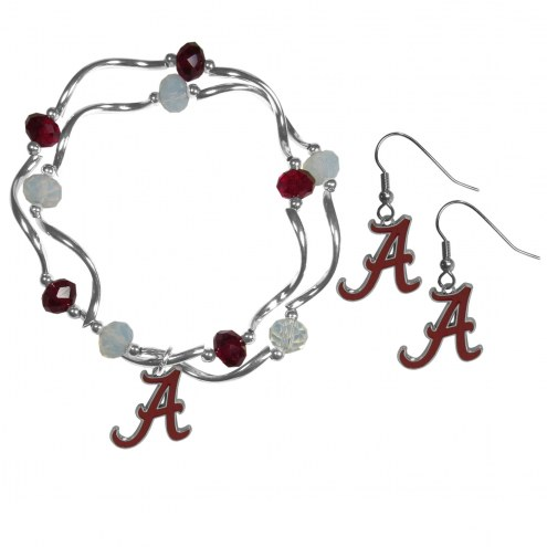 Alabama Crimson Tide Dangle Earrings & Crystal Bead Bracelet Set