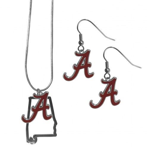 Alabama Crimson Tide Dangle Earrings & State Necklace Set