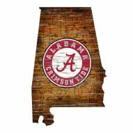Alabama Crimson Tide Distressed State with Logo Sign