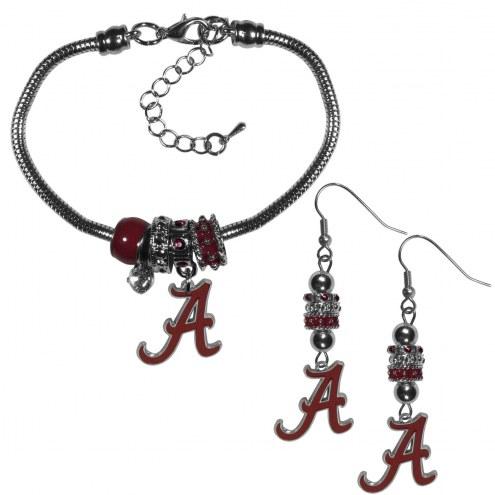 Alabama Crimson Tide Euro Bead Earrings & Bracelet Set