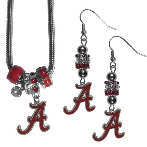 Alabama Crimson Tide Euro Bead Earrings & Necklace Set