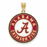 Alabama Crimson Tide Sterling Silver Gold Plated Extra Large Enameled Disc Pendant