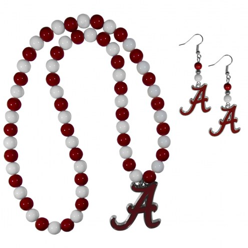 Alabama Crimson Tide Fan Bead Earrings & Necklace Set