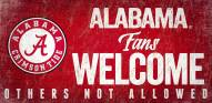 Alabama Crimson Tide Fans Welcome Wood Sign