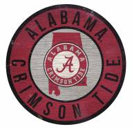 Alabama Crimson Tide Round State Wood Sign