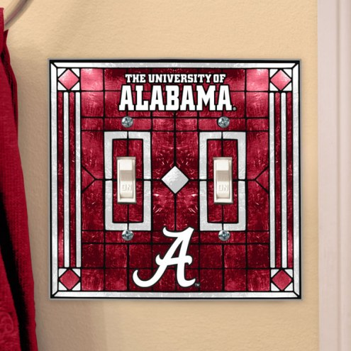 Alabama Crimson Tide Glass Double Switch Plate Cover
