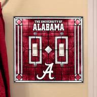 Alabama Crimson Tide Glass Double Switch Plate Cover