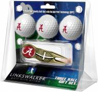 Alabama Crimson Tide Gold Crosshair Divot Tool & 3 Golf Ball Gift Pack