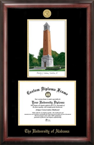 Alabama Crimson Tide Gold Embossed Diploma Frame with Lithograph
