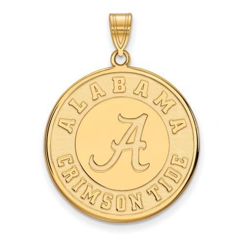 Alabama Crimson Tide Sterling Silver Gold Plated Extra Large Disc Pendant