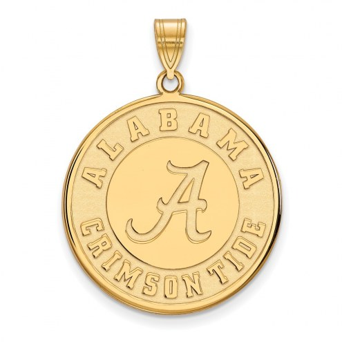 Alabama Crimson Tide Sterling Silver Gold Plated Extra Large Disc Pendant