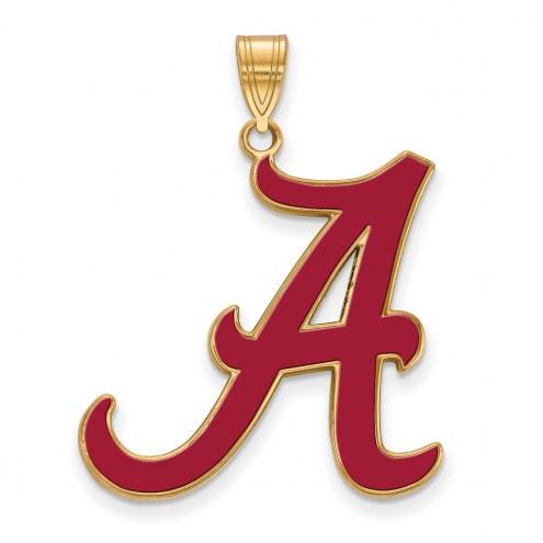 Alabama Crimson Tide Sterling Silver Gold Plated Extra Large Enameled Pendant