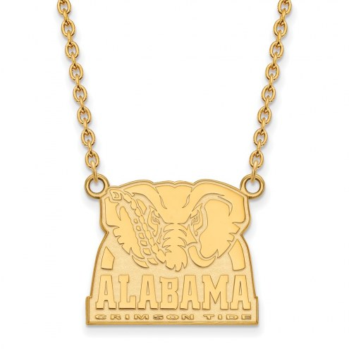 Alabama Crimson Tide Sterling Silver Gold Plated Large Pendant Necklace