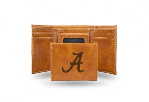 Alabama Crimson Tide Laser Engraved Brown Trifold Wallet