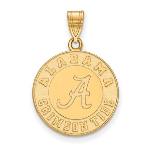 Alabama Crimson Tide Logo Art Sterling Silver Gold Plated Large Pendant