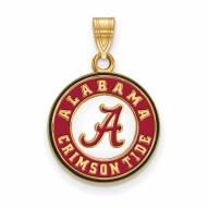 Alabama Crimson Tide Sterling Silver Gold Plated Medium Pendant
