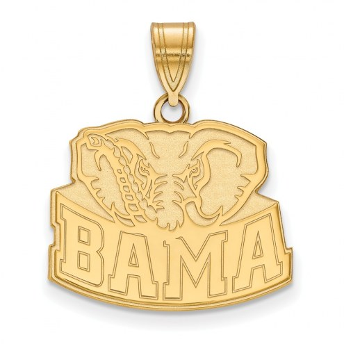 Alabama Crimson Tide Logo Sterling Silver Gold Plated Medium Pendant