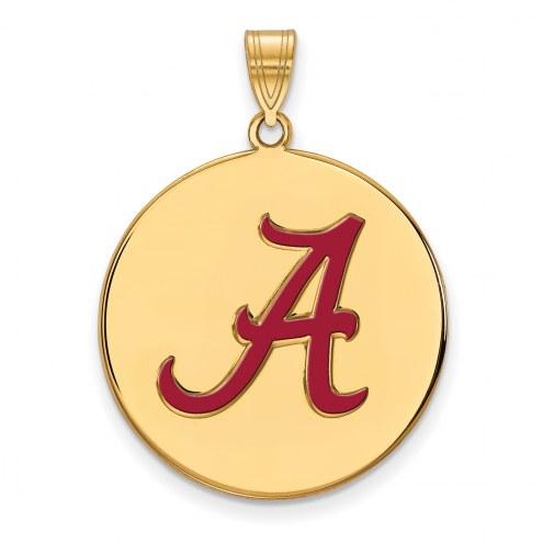 Alabama Crimson Tide NCAA Sterling Silver Gold Plated Extra Large Enameled Disc Pendant