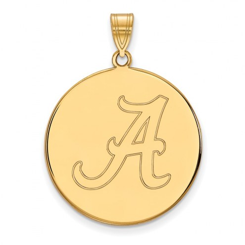 Alabama Crimson Tide NCAA Sterling Silver Gold Plated Extra Large Disc Pendant