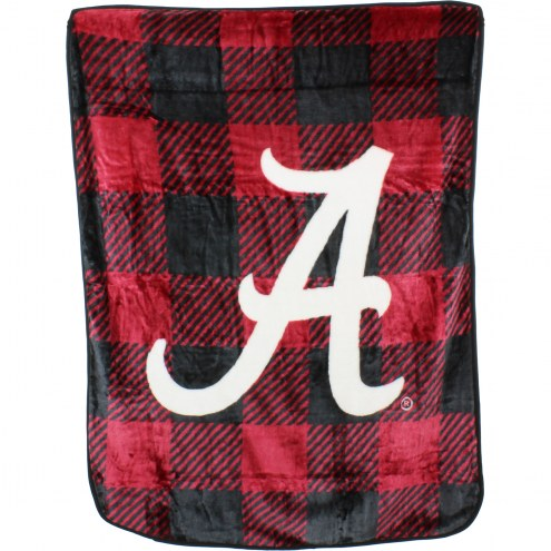Alabama Crimson Tide Plaid Raschel Throw Blanket