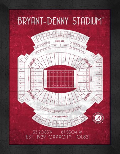 Alabama Crimson Tide Retro Stadium Chart Framed Print
