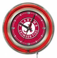 Alabama Crimson Tide Script Logo Neon Clock