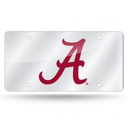 Alabama Crimson Tide Silver Laser Cut License Plate