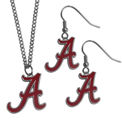 Alabama Crimson Tide Dangle Earrings & Chain Necklace Set