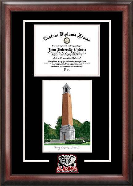 Alabama Crimson Tide Spirit Diploma Frame with Campus Image